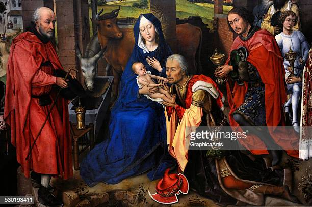 The Adoration of the Magi from the St Columba Altarpiece by Rogier van der Weyden 1455 This is the central panel of the altarpiece which was created...