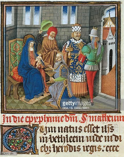 The adoration of the Magi miniature from the Saint Wulfram Gospels manuscript folio 249 recto France 15th Century