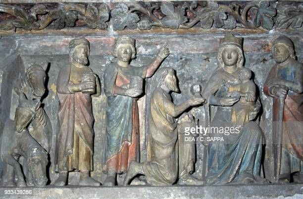 The Adoration of the Magi relief in the church choir 13th century Le Prieure Le Bourget du Lac AuvergneRhoneAlpes France 11th19th century