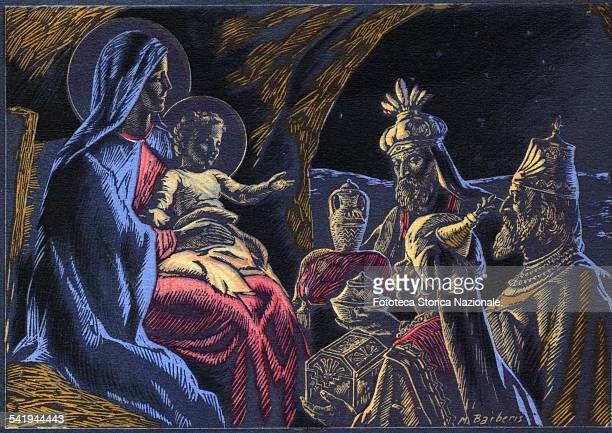 The adoration of the Magi who bring the gifts to Baby Jesus Illustration by Mario Barberis greeting card diffused by the Sanctuary of Sacred Heart...