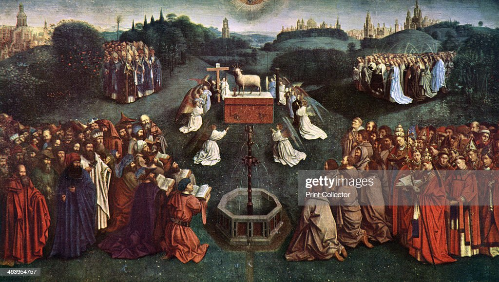 'The Adoration of the Mystic Lamb', The Ghent Altarpiece, 1432, (c1900-1920).Artist: Jan van Eyck : News Photo
