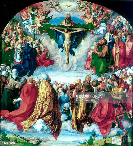 'The Adoration of the Trinity' 1511 This picture shows the Holy Trinity in glory worshipped by all the saints In the upper zone the Trinity of God...