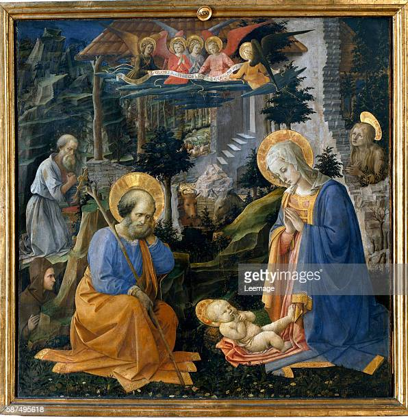 The Adoration with St Joseph St Jerome Mary Magdalene and St Ilarion by Filippino Lippi Tempera on wood 137x 134 cm c1455 Galleria degli Uffizi...