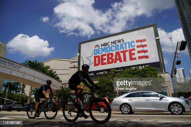 The Adrienne Arsht Center for the Performing Arts touts the first Democratic presidential primary debates for the 2020 elections June 25 2019 in...