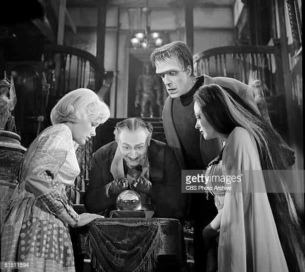 The adult cast of the CBS television situation comedy 'The Munsters' including American actress Pat Priest actor and political activist Al Lewis...