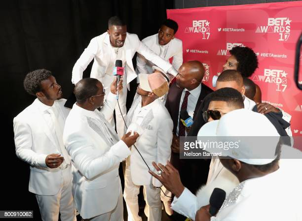 The adult cast of 'The New Edition Story' and the original members of New Edition backstage at the 2017 BET Awards at Microsoft Theater on June 25...