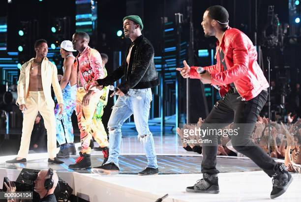 The adult cast of 'The New Edition Story' peforms onstage at 2017 BET Awards at Microsoft Theater on June 25 2017 in Los Angeles California