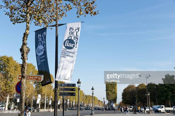 The adv banner are seen in Paris France on 9 October 2018 concerning a cultural event CULTURE FIAC will take place from 18 to 21 October 2018 in Paris