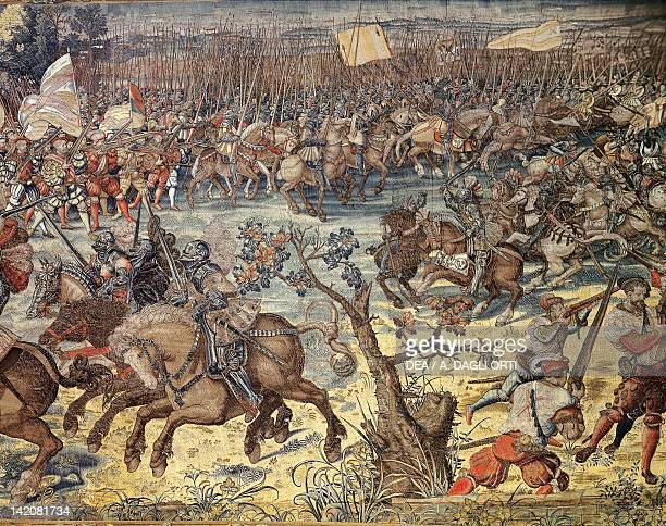 The Advance of Charles V's Troops during the Battle of Pavia 16th century Flemish tapestry based on a cartoon by Bernaert van Orley, manufacture of...