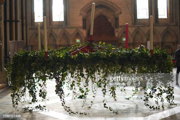 The Advent wreath is raised into its traditional position below the central tower at York Minster on November 27 2020 in York England At 4 metres...