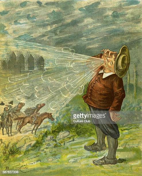 The Adventures of Baron Munchausen illlustrated by Alphonse Adolphe Bichard Caption reads At no great distance stood a person as fat as Sir John...