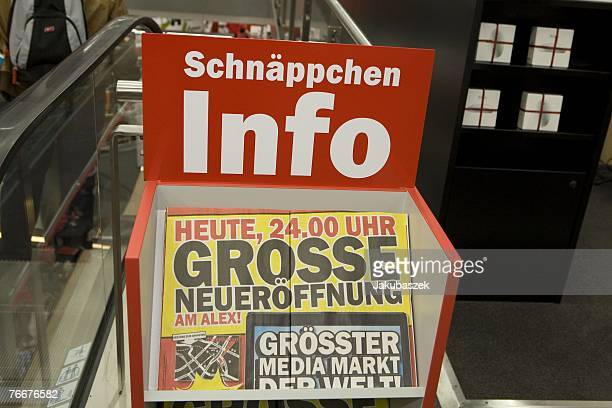 The advertisement announces the opening of the newest branch of the electronic shopping center Mediamarkt September 11 2007 in Berlin Germany The...