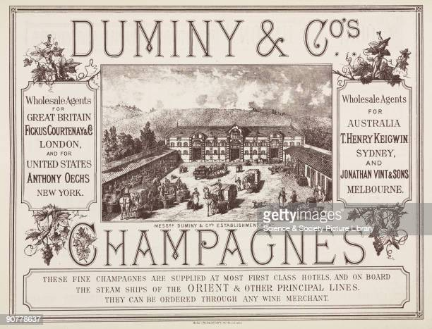 The advertisement for Duminy Co wholesale agents of champagne features an illustration of their premises in Ay the town in the French province of...