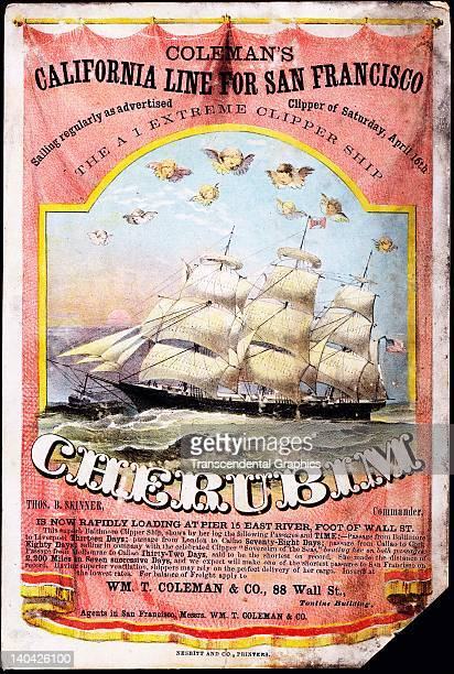The advertising card for the clipper ship Cherubim was printed by Nesbitt in New York City circa 1860 Chickens