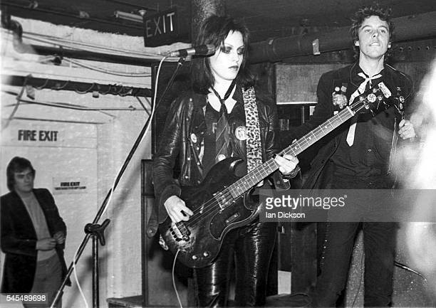 The Adverts performing on stage at Dingwalls London 06 June 1977 LR Gaye Advert TV Smith