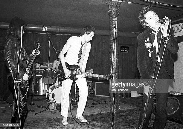 The Adverts performing on stage at Dingwalls London 06 June 1977 LR Gaye Advert Howard Pickup TV Smith