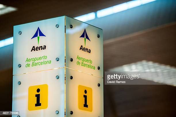 The Aena logo is seen at an information desk at Aena operated Barcelona El Prat International Airport on February 10 2015 in Barcelona Spain Shares...