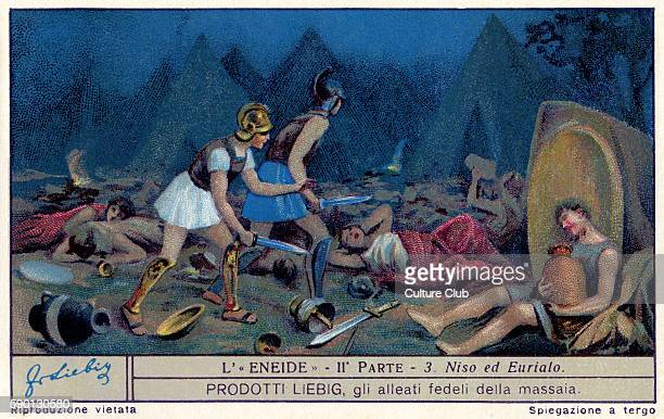 The Aenied epic poem by Virgil Nisus and Euryalus raid the Trojan camp Liebig collectors' card 1930