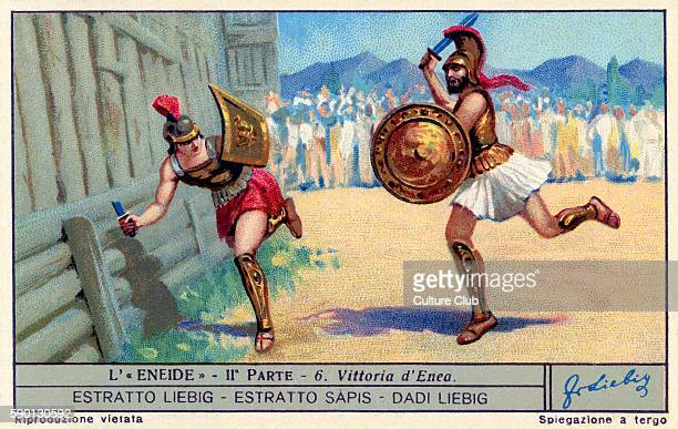 The Aenied epic poem by Virgil Victory of Aeneas over Turnus Liebig collectors' card 1930