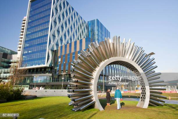 The Aeolus Accoustic wind pavilion sculpture at Media City in Salford Quays, Manchester, UK.