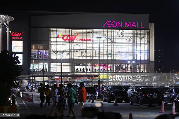 The Aeon Co mall stands illuminated at night in the Long Bien district of Hanoi Vietnam on Thursday July 21 2016 With a young population an expanding...
