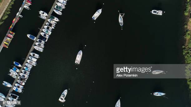The aerial directly above view to the yachts in the Marina in Mamaroneck, Westchester, New York, USA.
