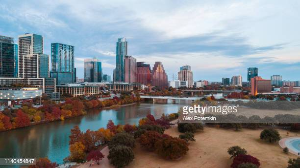 the aerial drone view of austin downtown, texas, usa - austin texas stock pictures, royalty-free photos & images