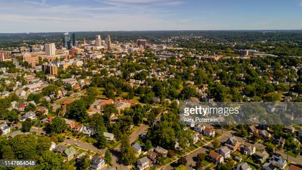 the aerial drone view of the residential district of white plains, the city in westchester county, new york state, usa - westchester county stock pictures, royalty-free photos & images