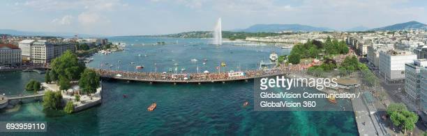 The Aerial Panorama of Geneva's Lake Parade