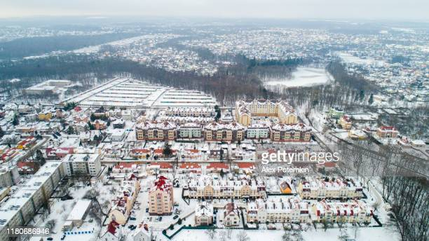 the aerial panoramic view of the city in winter. kaliningrad, russia - former koenigsberg, eastern prussia, germany, europe. - alex potemkin or krakozawr stock pictures, royalty-free photos & images