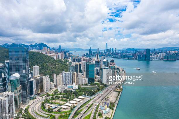 the aerial scenic view of the elevated highway on the high bridge in hong kong - china east asia stock pictures, royalty-free photos & images