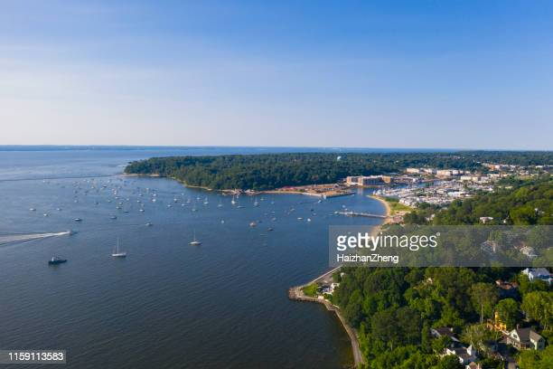 the aerial scenic view on manhasset bay, long island, new york - long island stock pictures, royalty-free photos & images