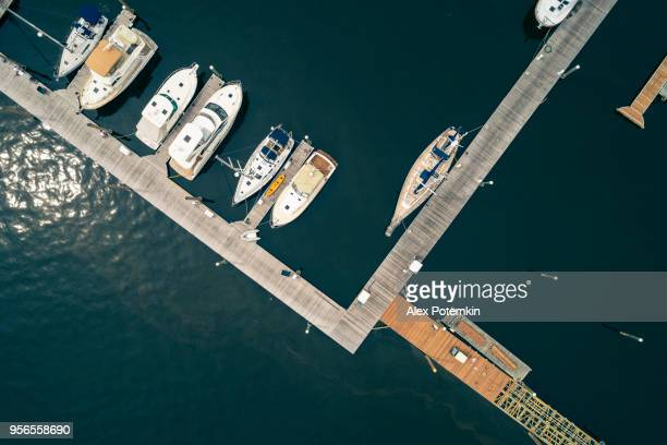 The aerial scenic view on the marina of Port Washington, Long Island, New York, USA