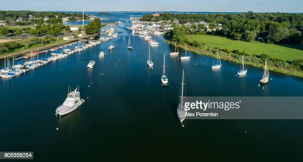 the aerial shoot of the marina in mamaroneck, westchester county, new york state, usa - marina stock pictures, royalty-free photos & images