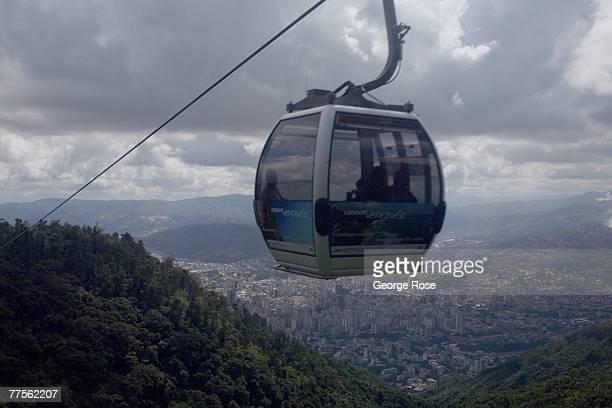 The aerial tram to the city's highest vantage point Parque Nacional El Avila is viewed in this 2007 Caracas Venezuela South America urban landscape...