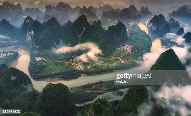 The aerial view at Xianggang hill, Yangshuo, Guilin, Guangxi, China