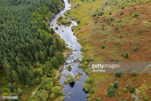 the aerial view from a drone of a river flowing through an area of rural scotland - johnfscott stock pictures, royalty-free photos & images