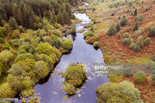 the aerial view of a river flowing through an area of rural scotland - johnfscott stock pictures, royalty-free photos & images