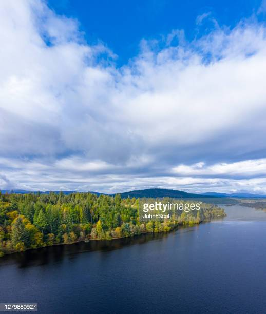 the aerial view of a slow moving river and forest in rural dumfries and galloway south west scotland - johnfscott stock pictures, royalty-free photos & images