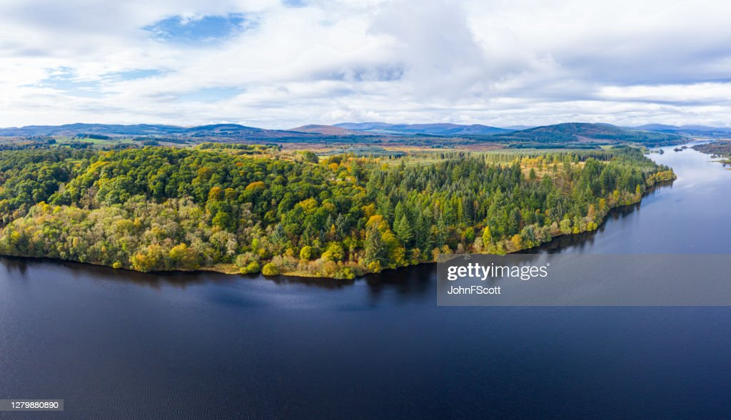 The aerial view of a slow moving river in rural Dumfries and Galloway south west Scotland : Stock Photo