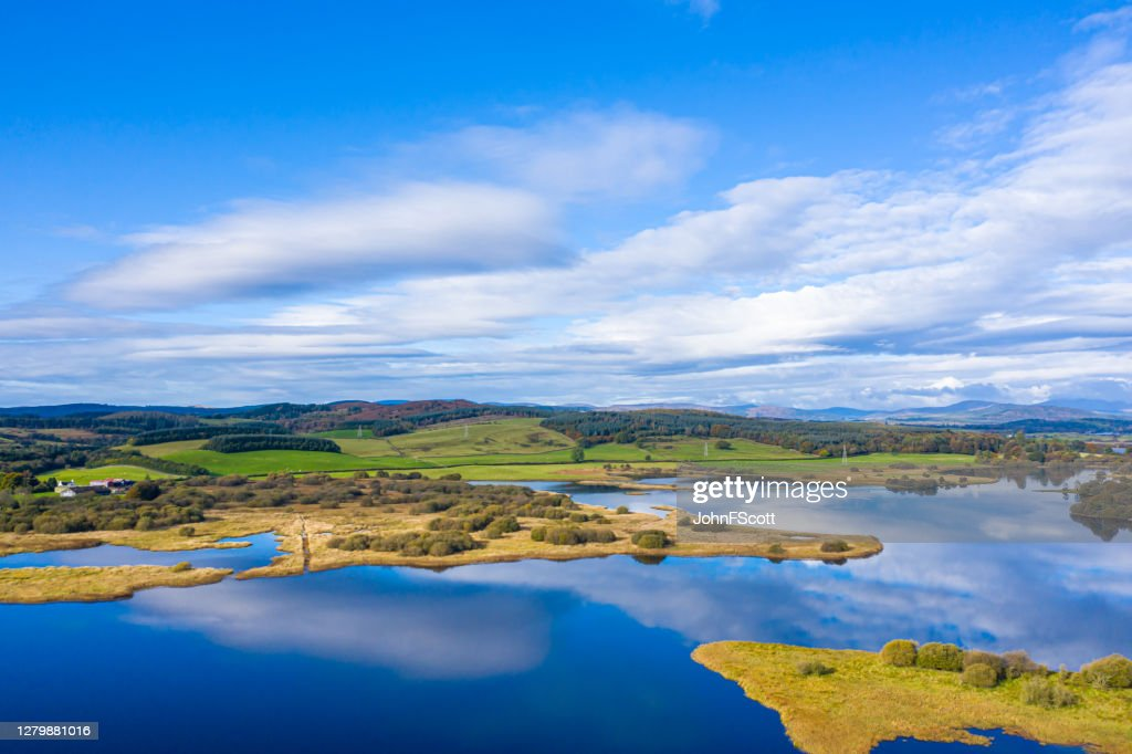 The aerial view of a slow moving stretch of water in rural Dumfries and Galloway south west Scotland : Stock Photo