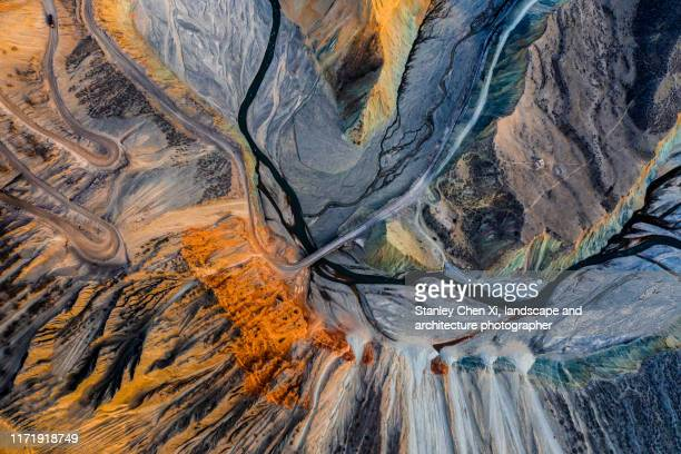 the aerial view of anjihai canyon, xinjiang - geology stock pictures, royalty-free photos & images