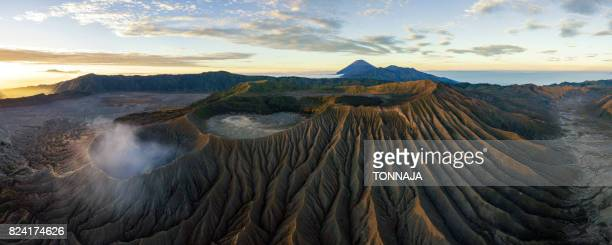 the aerial view of bromo volcano - mount bromo stock pictures, royalty-free photos & images