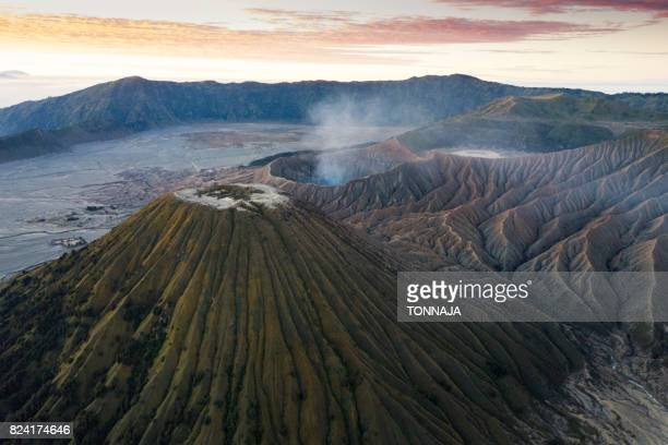 The aerial view of Bromo volcano