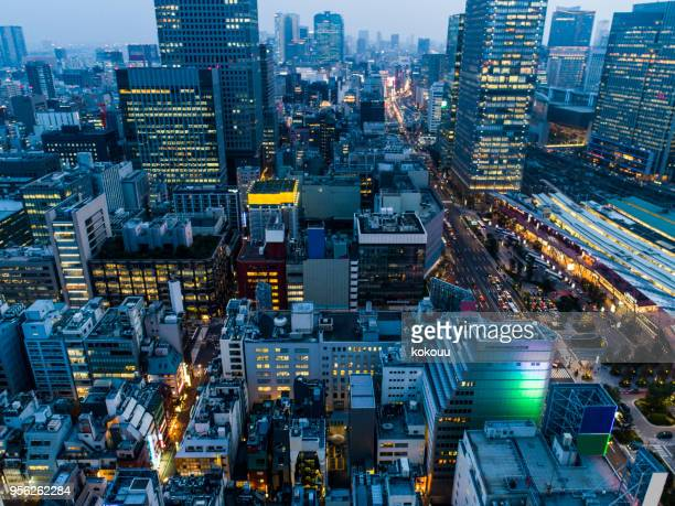 the aerial view of business area in tokyo - japan economy stock pictures, royalty-free photos & images