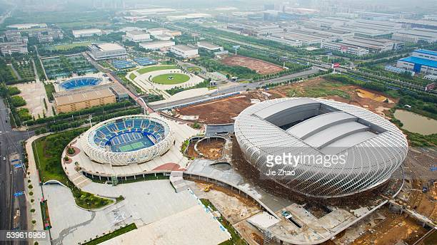 The aerial view of Guangu International Tennis Center in Wuhan Hubei province China on 8th June 2015 The Wuhan Open is building a 1 billion RMB...