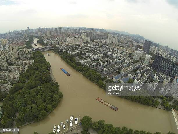 The aerial view of Maiyuqiao landscape of the Beijing Hangzhou Canal in Hangzhou Zhejiang province China on 27th September 2013