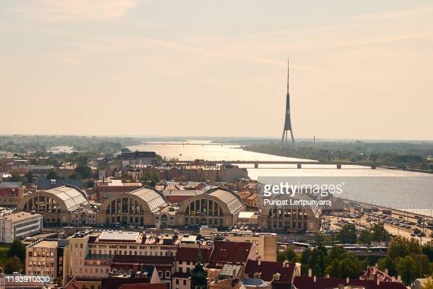the aerial view of riga old town, latvia - riga stock pictures, royalty-free photos & images