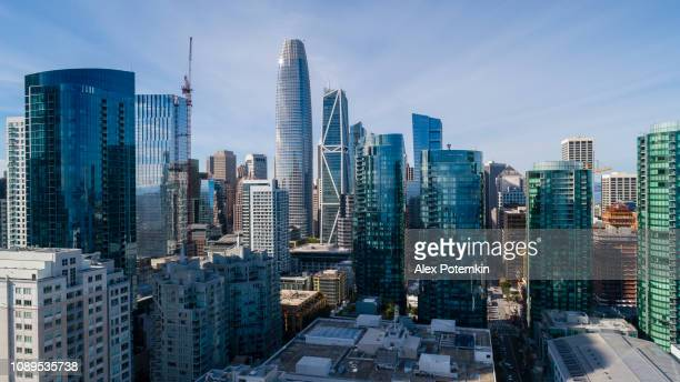 the aerial view of san francisco downtown, california - san francisco california stock photos and pictures