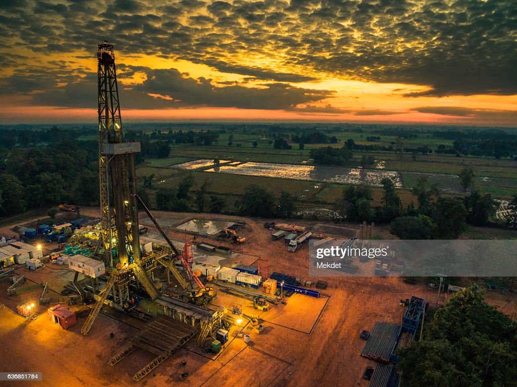 The Aerial view of Thailand Countryside with the Oil Drilling Rig : Stock Photo